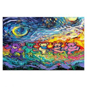 Decorative Floor Covering Mats | Aja Ann - Van Gogh Grateful Dancing Bears | Artistic Brush Strokes animals