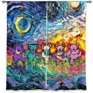 Decorative Window Treatments | Aja Ann - Van Gogh Grateful Dancing Bears | Artistic Brush Strokes animals