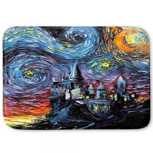 Decorative Bathroom Mats | Aja Ann - Van Gogh Hogwarts | Artistic Brush Strokes magic Harry Potter wizard witch castle school book
