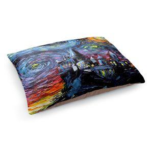 Decorative Dog Pet Beds | Aja Ann - Van Gogh Hogwarts | Artistic Brush Strokes magic Harry Potter wizard witch castle school book