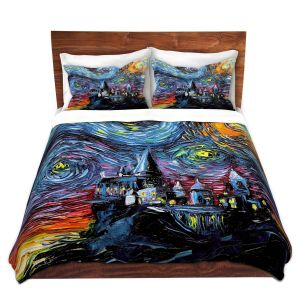 Artistic Duvet Covers and Shams Bedding | Aja Ann - Van Gogh Hogwarts | Artistic Brush Strokes magic Harry Potter wizard witch castle school book