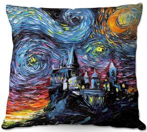 Throw Pillows Decorative Artistic | Aja Ann - Van Gogh Hogwarts | Artistic Brush Strokes magic Harry Potter wizard witch castle school book