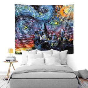 Artistic Wall Tapestry | Aja Ann - Van Gogh Hogwarts | Artistic Brush Strokes magic Harry Potter wizard witch castle school book