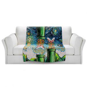 Artistic Sherpa Pile Blankets   Aja Ann - van Gogh Super Mario Bros