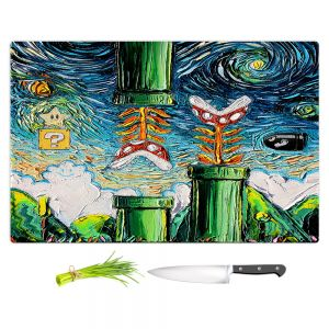 Artistic Kitchen Bar Cutting Boards | Aja Ann - van Gogh Super Mario Bros