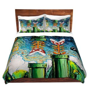 Artistic Duvet Covers and Shams Bedding | Aja Ann - van Gogh Super Mario Bros