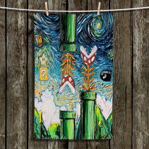 Unique Hanging Tea Towels | Aja Ann - van Gogh Super Mario Bros | Childlike Video Games Super Mario Bros