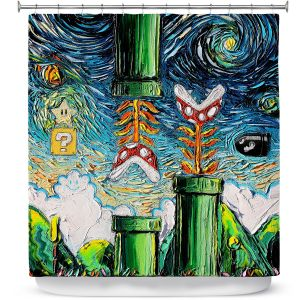 Premium Shower Curtains | Aja Ann - van Gogh Super Mario Bros