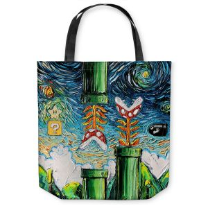 Unique Shoulder Bag Tote Bags | Aja Ann - van Gogh Super Mario Bros