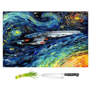 Artistic Kitchen Bar Cutting Boards | Aja Ann - van Gogh Star Trek Painting