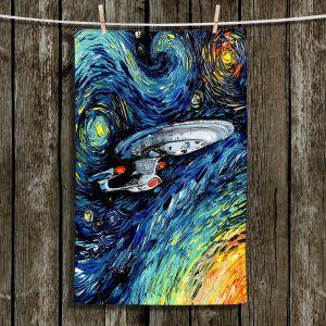 Unique Hanging Tea Towels | Aja Ann - van Gogh Star Trek Painting | Space Spaceship Star Trek Whimsical