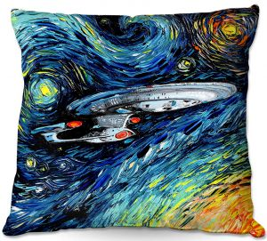Decorative Outdoor Patio Pillow Cushion | Aja Ann - van Gogh Star Trek Painting