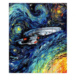 Decorative Wood Plank Wall Art | Aja Ann - van Gogh Star Trek Painting