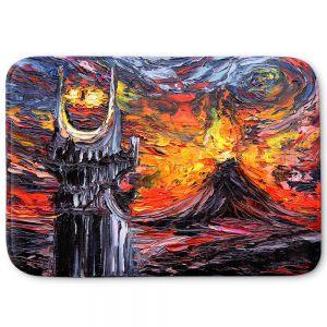 Decorative Bathroom Mats | Aja Ann - Van Gogh Never Lord of Rings Eye | Artistic Brush Strokes sauron mordor fellowship hobbit book