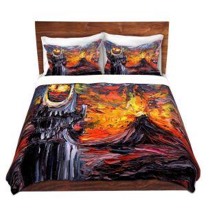 Artistic Duvet Covers and Shams Bedding | Aja Ann - Van Gogh Never Lord of Rings Eye | Artistic Brush Strokes sauron mordor fellowship hobbit book