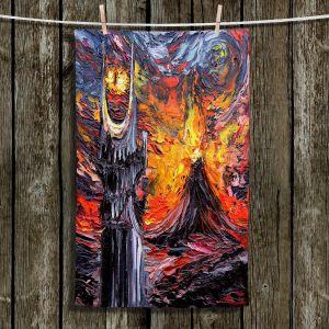Unique Hanging Tea Towels | Aja Ann - Van Gogh Never Lord of Rings Eye | Artistic Brush Strokes sauron mordor fellowship hobbit book
