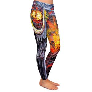 Casual Comfortable Leggings | Aja Ann - Van Gogh Never Lord of Rings Eye | Artistic Brush Strokes sauron mordor fellowship hobbit book