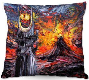 Throw Pillows Decorative Artistic | Aja Ann - Van Gogh Never Lord of Rings Eye | Artistic Brush Strokes sauron mordor fellowship hobbit book