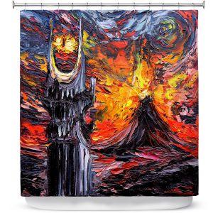 Premium Shower Curtains | Aja Ann - Van Gogh Never Lord of Rings Eye | Artistic Brush Strokes sauron mordor fellowship hobbit book