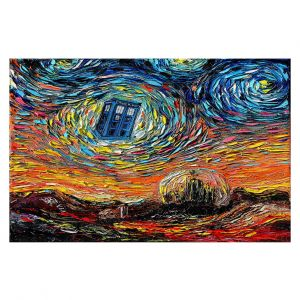 Decorative Floor Covering Mats | Aja Ann - Van Gogh Never Saw Gallifrey | Artistic Brush Strokes Doctor Who Dr. Who TARDIS pop culture television TV space time Time travel