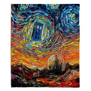 Decorative Fleece Throw Blankets   Aja Ann - Van Gogh Never Saw Gallifrey   Artistic Brush Strokes Doctor Who Dr. Who TARDIS pop culture television TV space time Time travel