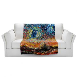 Artistic Sherpa Pile Blankets   Aja Ann - Van Gogh Never Saw Gallifrey   Artistic Brush Strokes Doctor Who Dr. Who TARDIS pop culture television TV space time Time travel