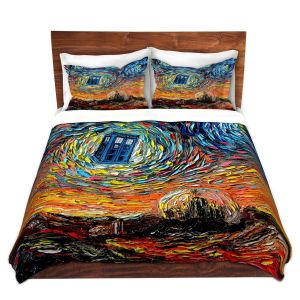 Artistic Duvet Covers and Shams Bedding | Aja Ann - Van Gogh Never Saw Gallifrey | Artistic Brush Strokes Doctor Who Dr. Who TARDIS pop culture television TV space time Time travel