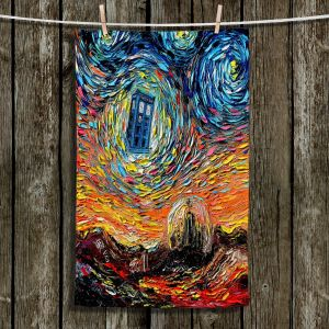Unique Bathroom Towels | Aja Ann - Van Gogh Never Saw Gallifrey | Unique Brush Strokes Doctor Who Dr. Who TARDIS pop culture television TV space time Time travel