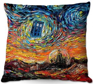 Throw Pillows Decorative Artistic | Aja Ann - Van Gogh Never Saw Gallifrey | Artistic Brush Strokes Doctor Who Dr. Who TARDIS pop culture television TV space time Time travel
