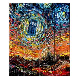 Decorative Wood Plank Wall Art | Aja Ann - Van Gogh Never Saw Gallifrey | Artistic Brush Strokes Doctor Who Dr. Who TARDIS pop culture television TV space time Time travel