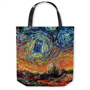 Unique Shoulder Bag Tote Bags | Aja Ann - Van Gogh Never Saw Gallifrey | Artistic Brush Strokes Doctor Who Dr. Who TARDIS pop culture television TV space time Time travel