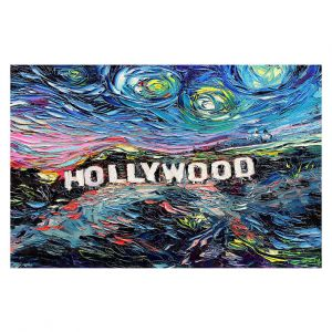Decorative Floor Covering Mats | Aja Ann - Van Gogh Never Saw Hollywood | Artistic Brush Strokes California famous place sign hills