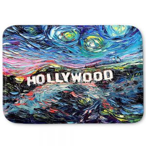 Decorative Bathroom Mats | Aja Ann - Van Gogh Never Saw Hollywood | Artistic Brush Strokes California famous place sign hills