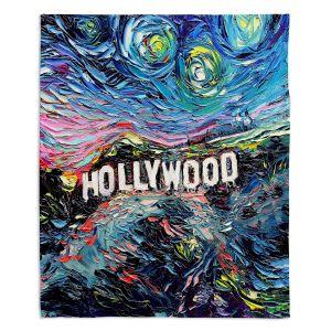 Decorative Fleece Throw Blankets   Aja Ann - Van Gogh Never Saw Hollywood   Artistic Brush Strokes California famous place sign hills