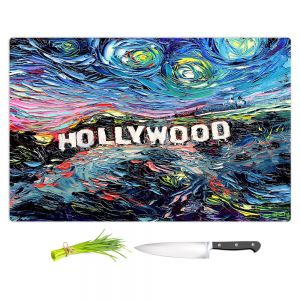 Artistic Kitchen Bar Cutting Boards | Aja Ann - Van Gogh Never Saw Hollywood | Artistic Brush Strokes California famous place sign hills