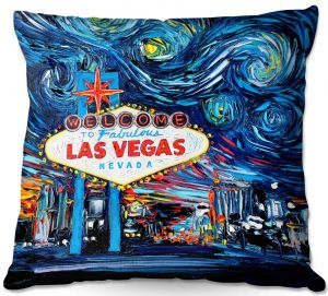 Decorative Outdoor Patio Pillow Cushion | Aja Ann - Van Gogh Never Saw Las Vegas | Artistic Brush Strokes Nevada casino gambling vegas strip