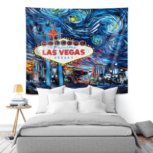 Artistic Wall Tapestry | Aja Ann - Van Gogh Never Saw Las Vegas | Artistic Brush Strokes Nevada casino gambling vegas strip