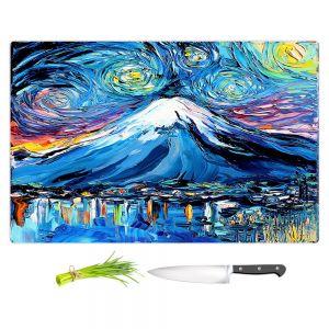 Artistic Kitchen Bar Cutting Boards | Aja Ann - Van Gogh Never Saw Mount Fuji | Artistic Brush Strokes Japan mountain island