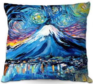 Decorative Outdoor Patio Pillow Cushion | Aja Ann - Van Gogh Never Saw Mount Fuji | Artistic Brush Strokes Japan mountain island
