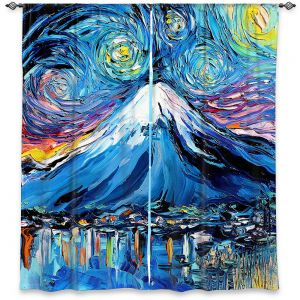 Decorative Window Treatments | Aja Ann - Van Gogh Never Saw Mount Fuji | Artistic Brush Strokes Japan mountain island