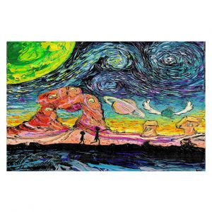 Decorative Floor Covering Mats | Aja Ann - Van Gogh Planet Children | Artistic Brush Strokes Rick and Morty pop culture tv television cartoon space time travel