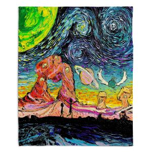 Artistic Sherpa Pile Blankets | Aja Ann - Van Gogh Planet Children | Artistic Brush Strokes Rick and Morty pop culture tv television cartoon space time travel