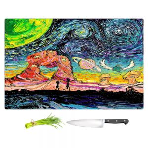 Artistic Kitchen Bar Cutting Boards   Aja Ann - Van Gogh Planet Children   Artistic Brush Strokes Rick and Morty pop culture tv television cartoon space time travel