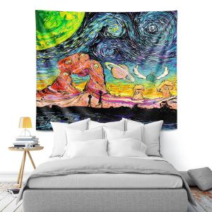 Artistic Wall Tapestry | Aja Ann - Van Gogh Planet Children | Artistic Brush Strokes Rick and Morty pop culture tv television cartoon space time travel