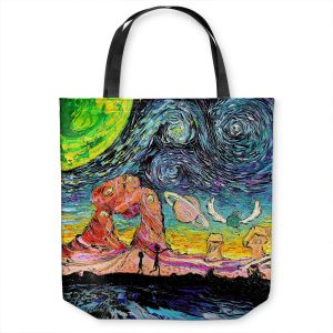 Unique Shoulder Bag Tote Bags | Aja Ann - Van Gogh Planet Children | Artistic Brush Strokes Rick and Morty pop culture tv television cartoon space time travel