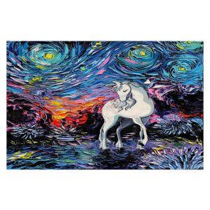 Decorative Floor Covering Mats | Aja Ann - Van Gogh Regret Unicorn | Artistic Brush Strokes The Last Unicorn cartoon animation movie