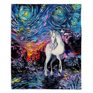 Decorative Fleece Throw Blankets | Aja Ann - Van Gogh Regret Unicorn | Artistic Brush Strokes The Last Unicorn cartoon animation movie
