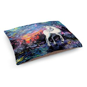Decorative Dog Pet Beds | Aja Ann - Van Gogh Regret Unicorn | Artistic Brush Strokes The Last Unicorn cartoon animation movie