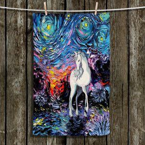 Unique Bathroom Towels | Aja Ann - Van Gogh Regret Unicorn | Unique Brush Strokes The Last Unicorn cartoon animation movie