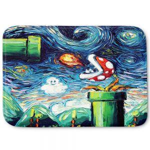 Decorative Bathroom Mats | Aja Ann - Van Gogh Super Mario Bros 2 | Artistic Brush Strokes Nintendo brothers pirahna plant fire ball video games old school
